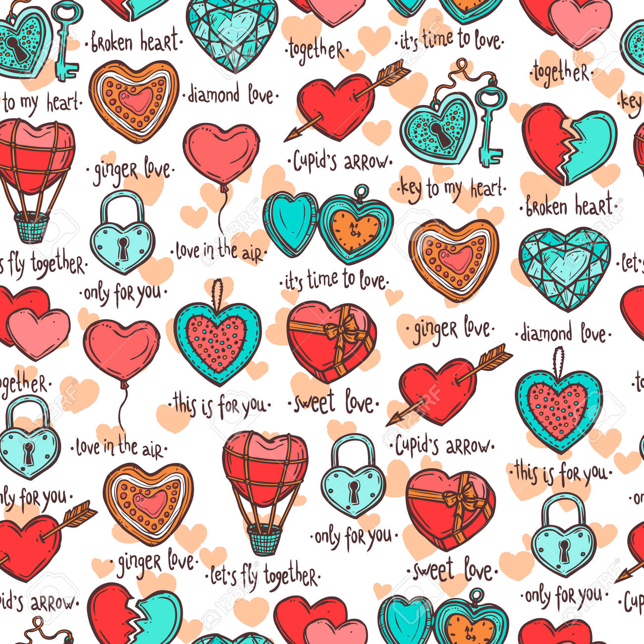 seamless pattern with hand drawn valentine hearts, set of objects