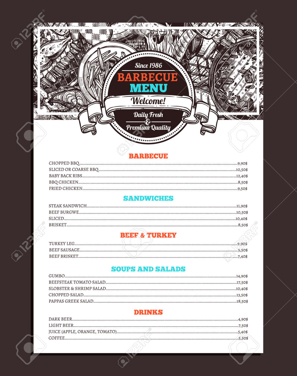 barbecue restaurant menu template design of bbq brochure on