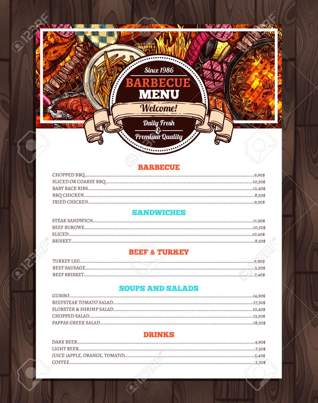 barbecue restaurant menu template design of bbq brochure royalty