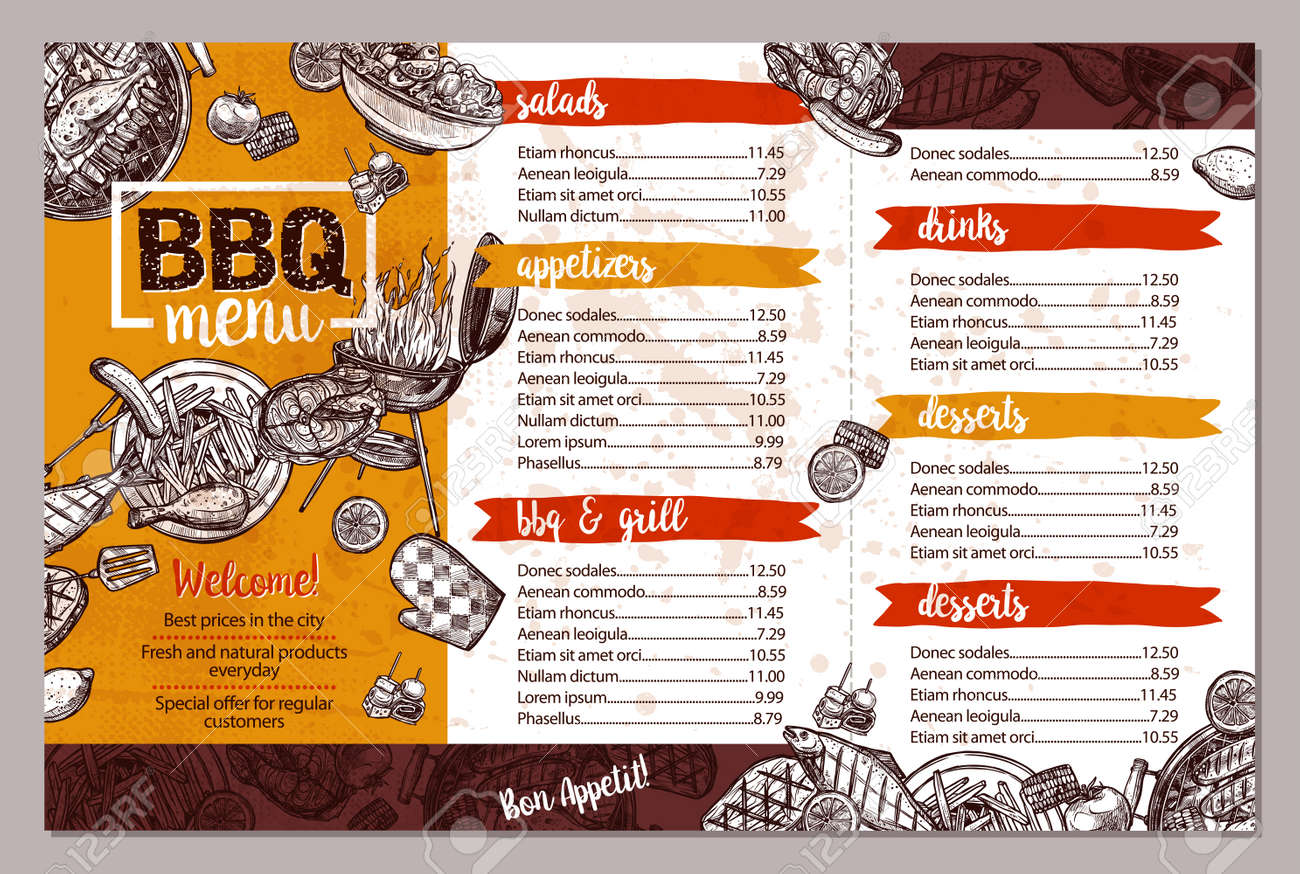 Barbecue Restaurant Menu Template Design Of Bbq Brochure In