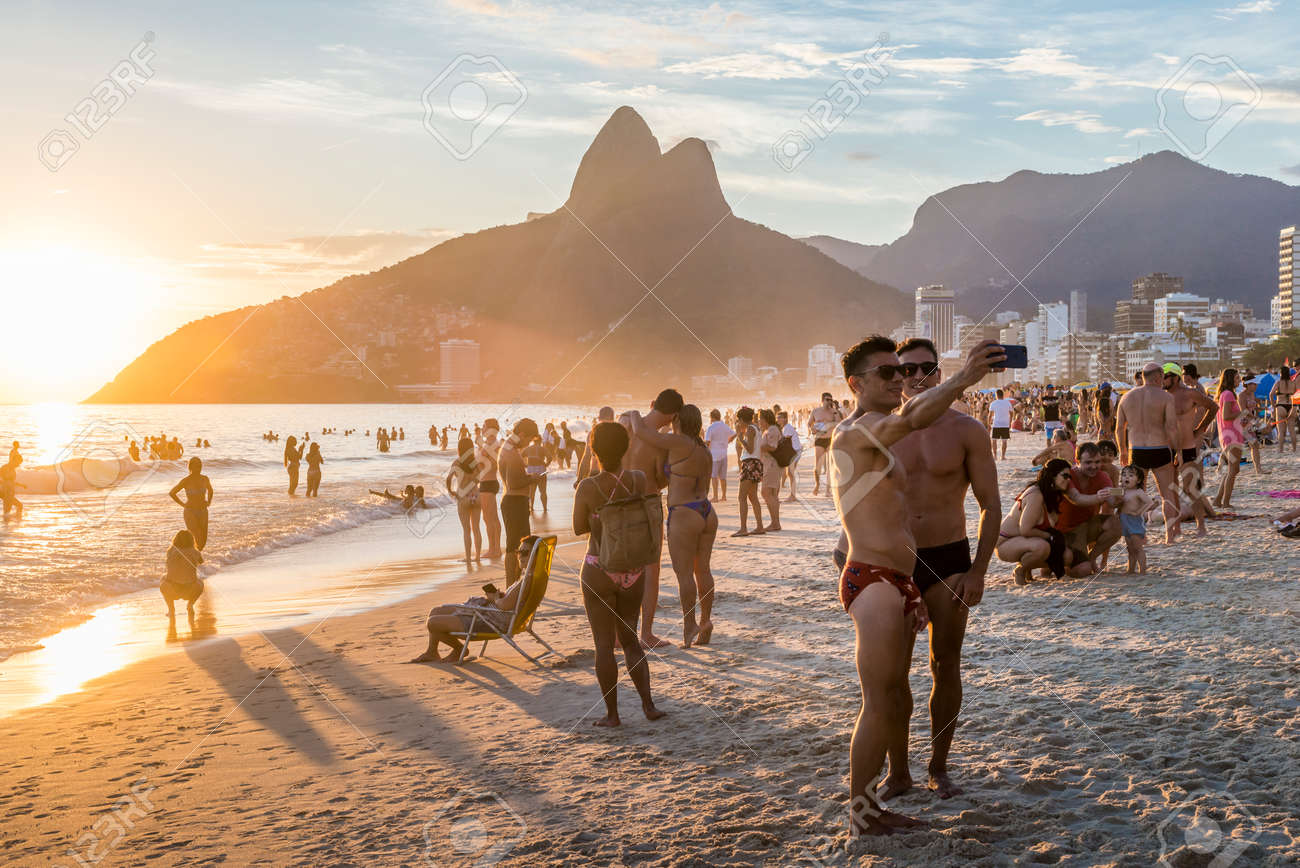 Attractive Men Take A Selfie In Ipanema Beach Rio De Janeiro