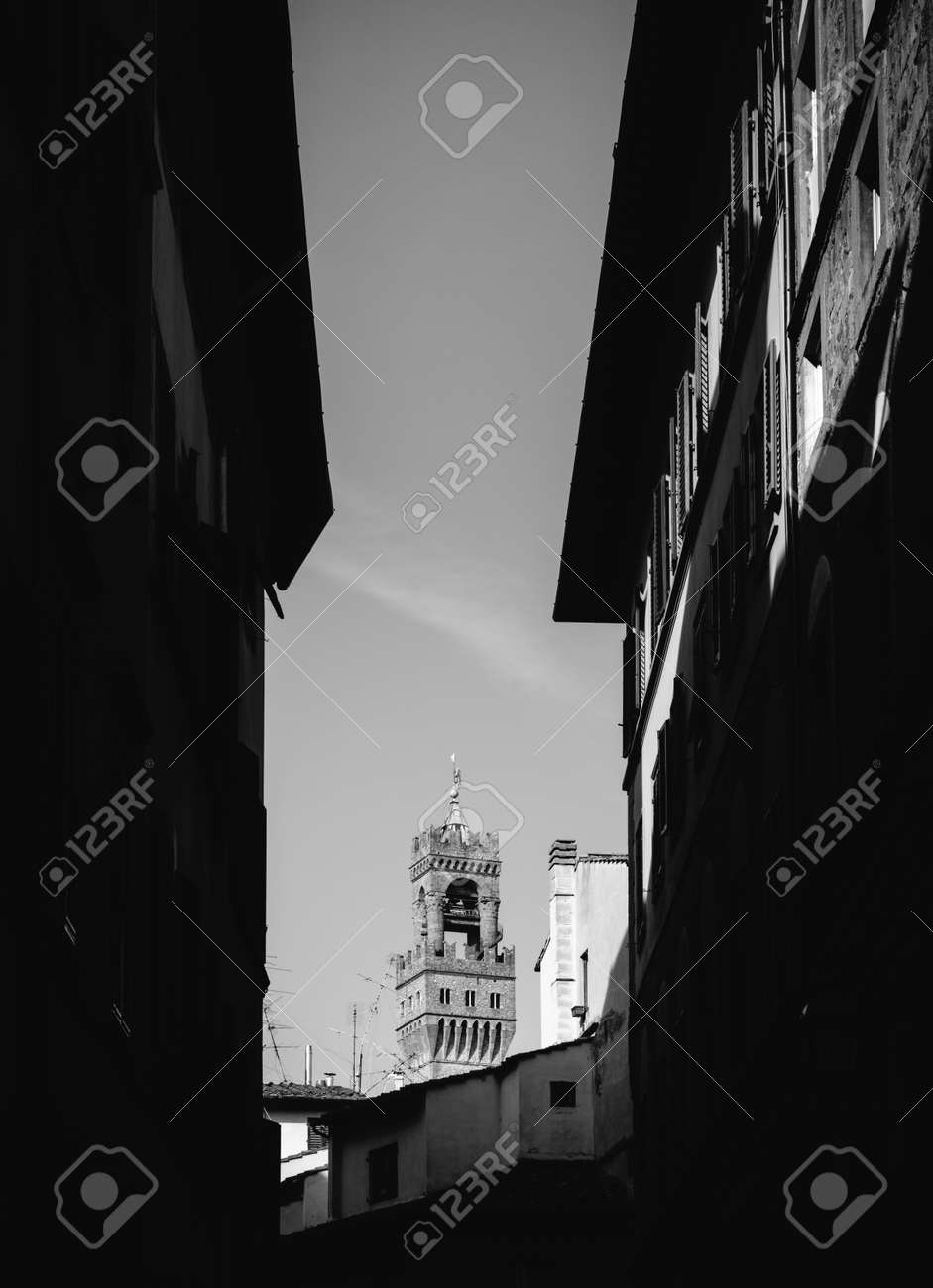 Stock photo tower of arnolfo florence tuscany italy in black and white fine art style
