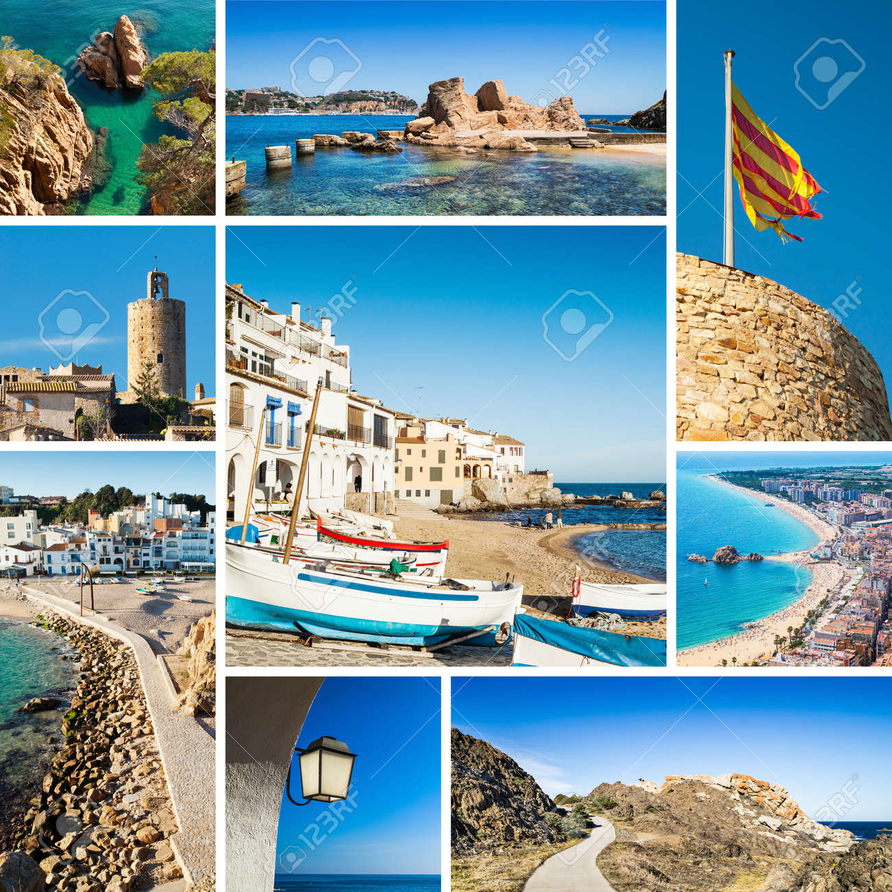Collage Of Costa Brava Landscapes Destinations Stock Photo