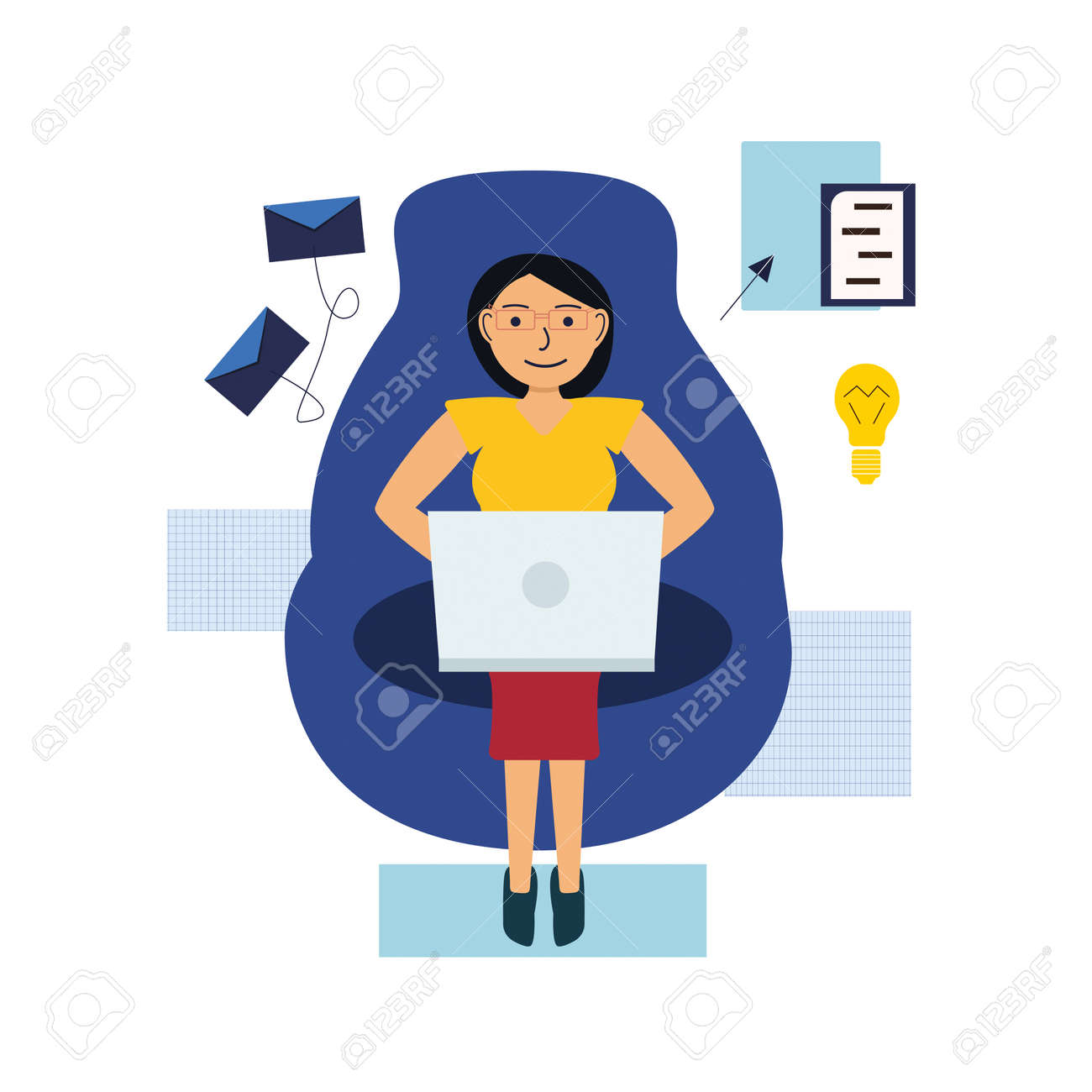 Girl works online with a laptop, sitting on an armchair. The concept of work in the distance. Vector illustration - 145795752