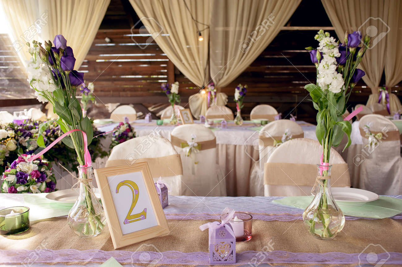 Beautifully Decorated Table For The Wedding Ceremony Served Stock - Banquet table setup ideas