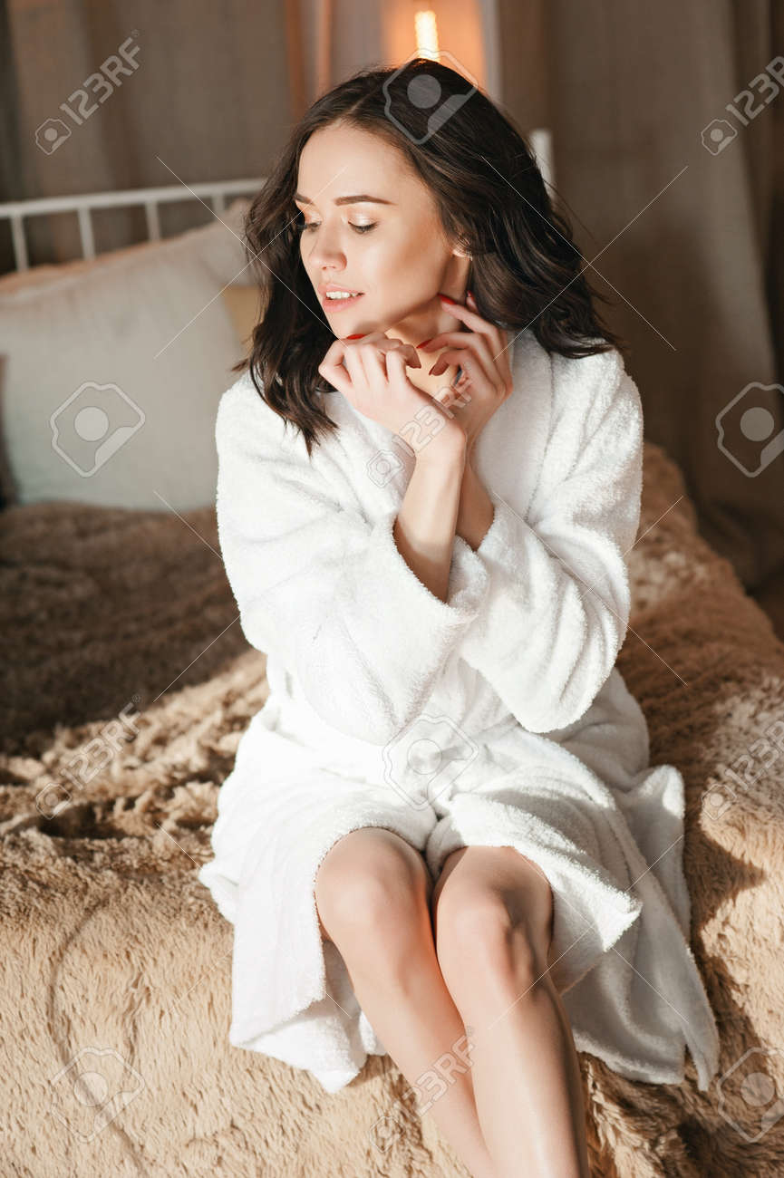 Morning Attractive Brunette Woman In White, Homecoming Dressing ...