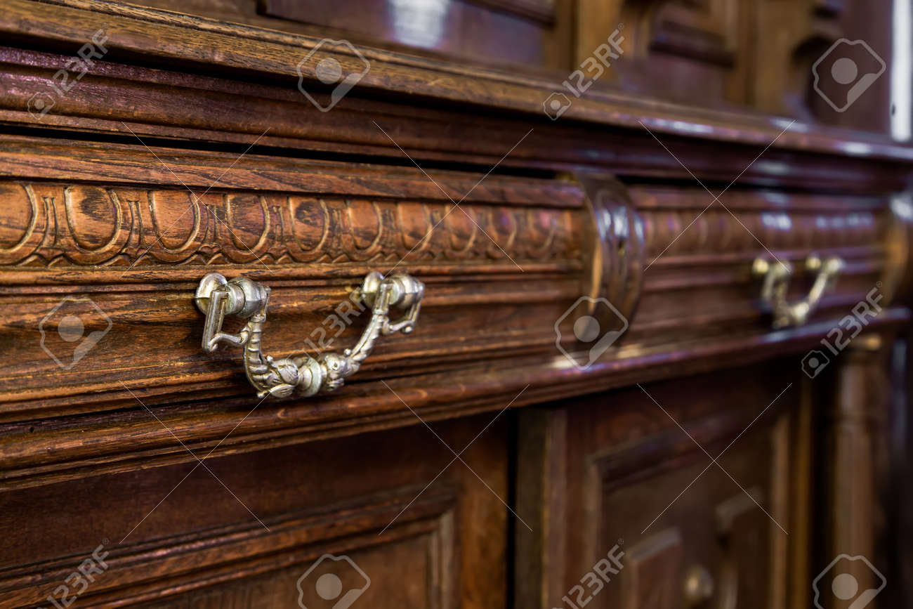 Antique Wood Dresser With Vintage Furniture Stock Photo   49176600