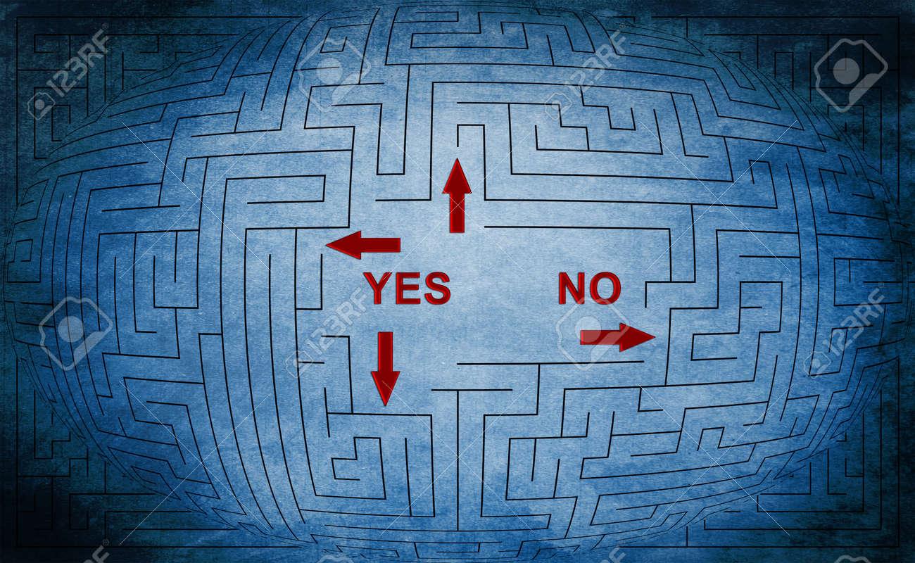 Yes or no maze concept Stock Photo - 26411208