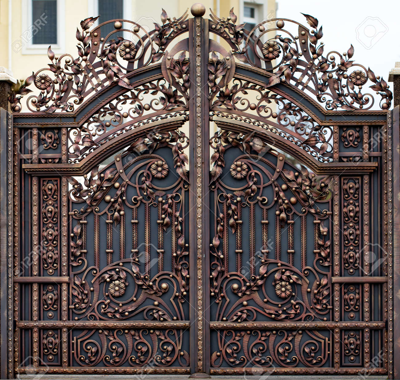 Wrought Iron Gates Ornamental Forging Forged Elements Close Up
