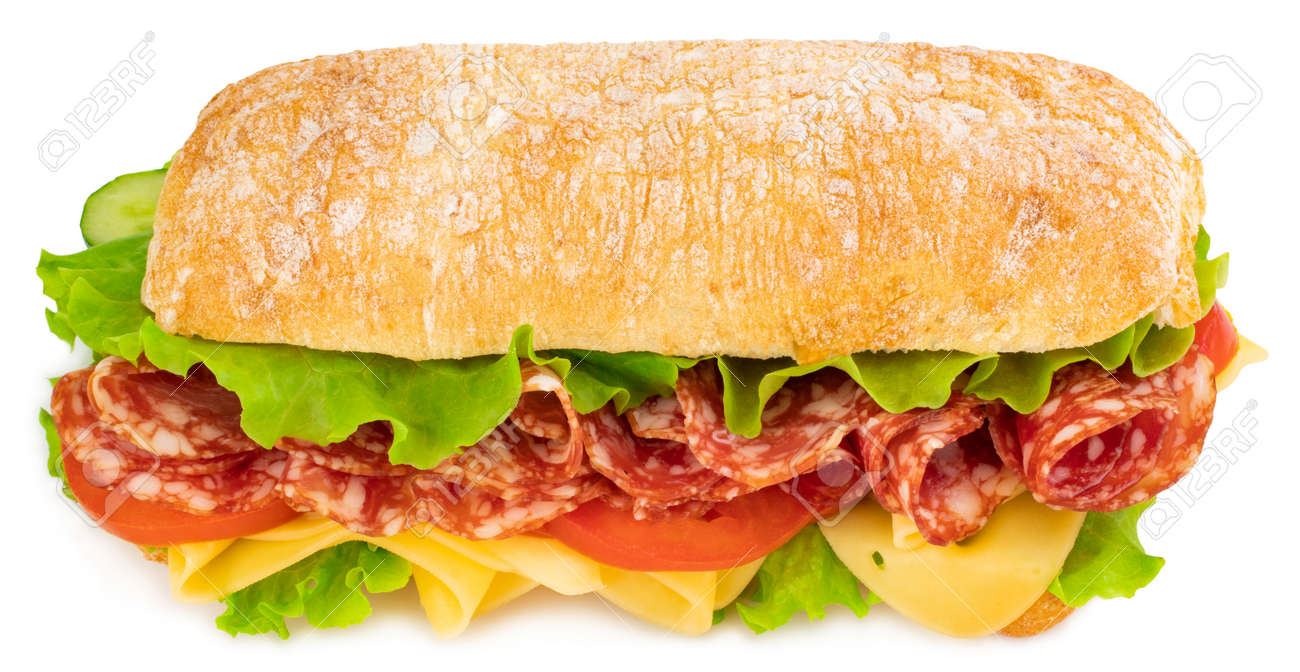 Ciabatta sandwich with lettuce, tomatoes prosciutto and cheese isolated on white background. - 122683094