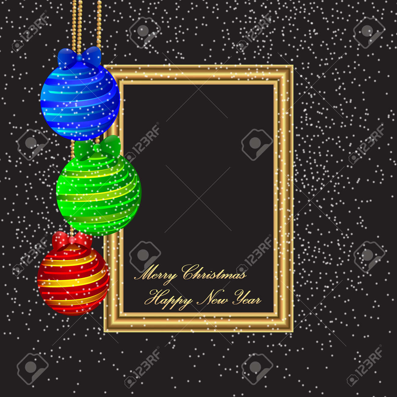 Merry Christmas And Happy New Year Poster Template With Color Balls On  Black Background. Vector