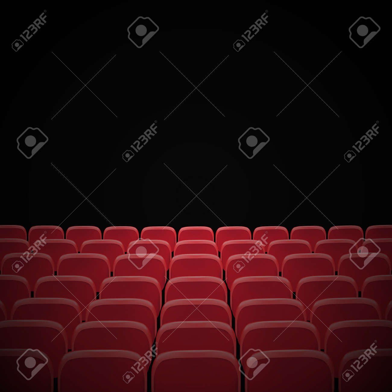 Rows Of Red Cinema Or Theater Seats In Front Of Black Blank Screen Royalty Free Cliparts Vectors And Stock Illustration Image 118897516