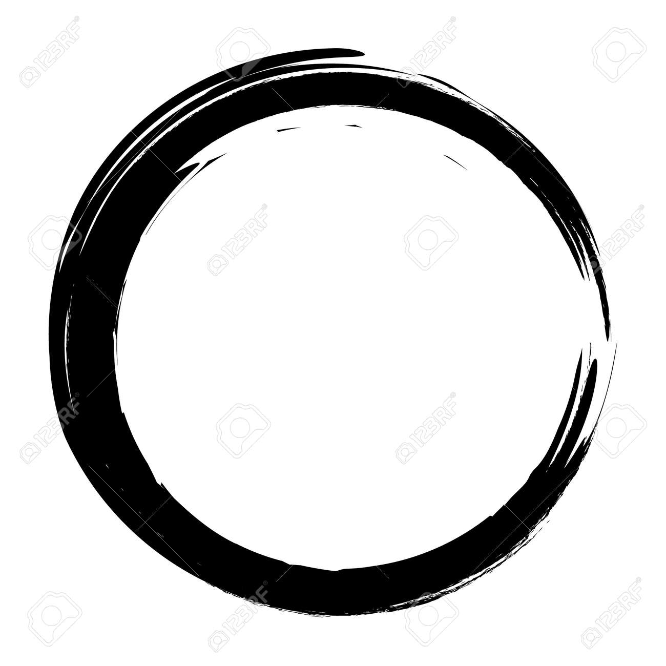Vector brush strokes circles of paint on white background. Ink hand drawn paint brush circle. - 139539824
