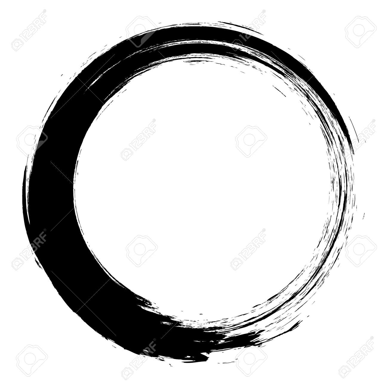 Vector brush strokes circles of paint on white background. Ink hand drawn paint brush circle. - 139539928