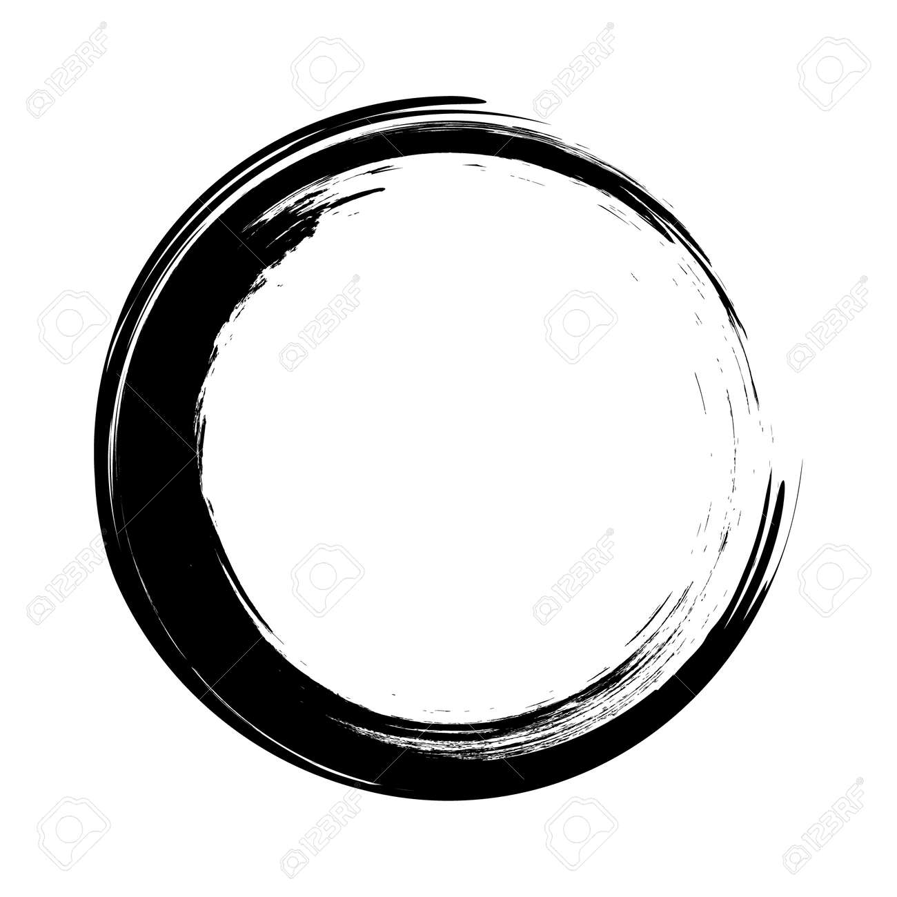 vector brush strokes circles of paint on white background. Ink hand drawn paint brush circle . - 144215758