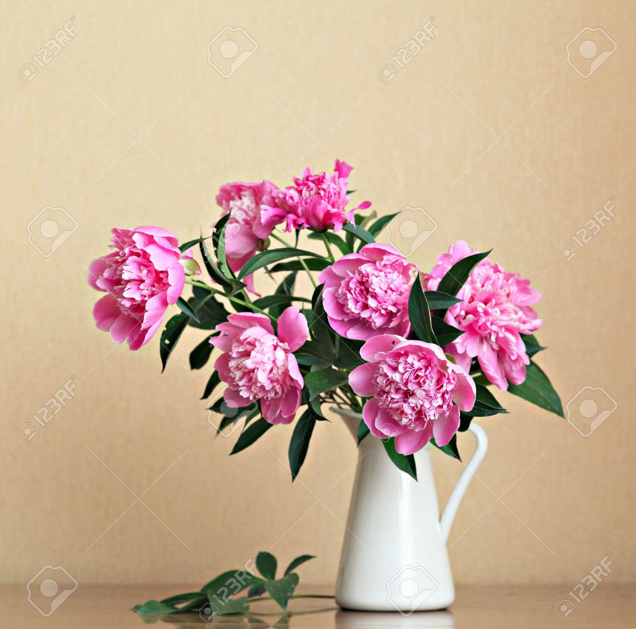 Bouquet of peonies blooms in vase Stock Photo - 14370040