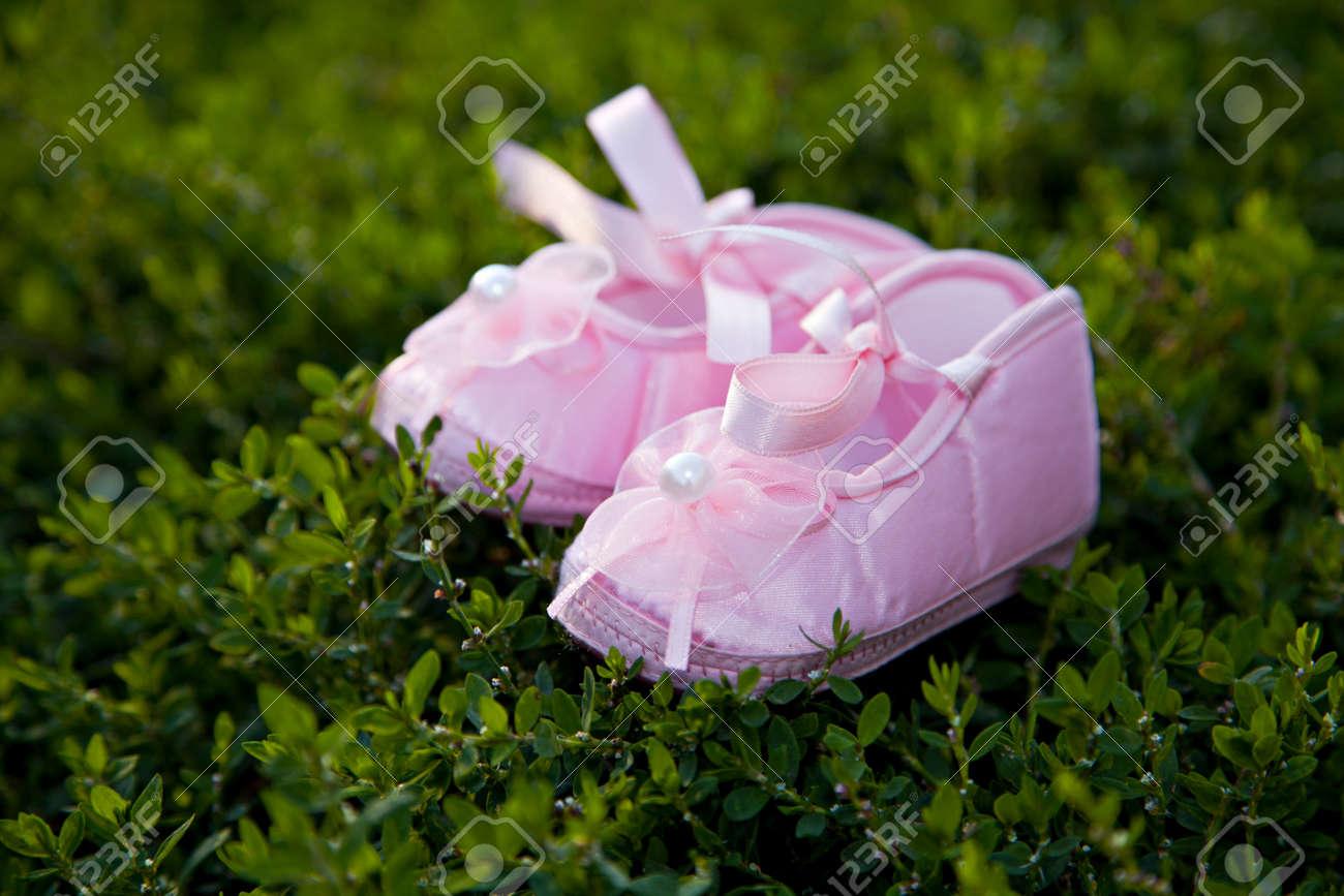 Pair of pink balerina shoe close-up outdoor Stock Photo - 15309929