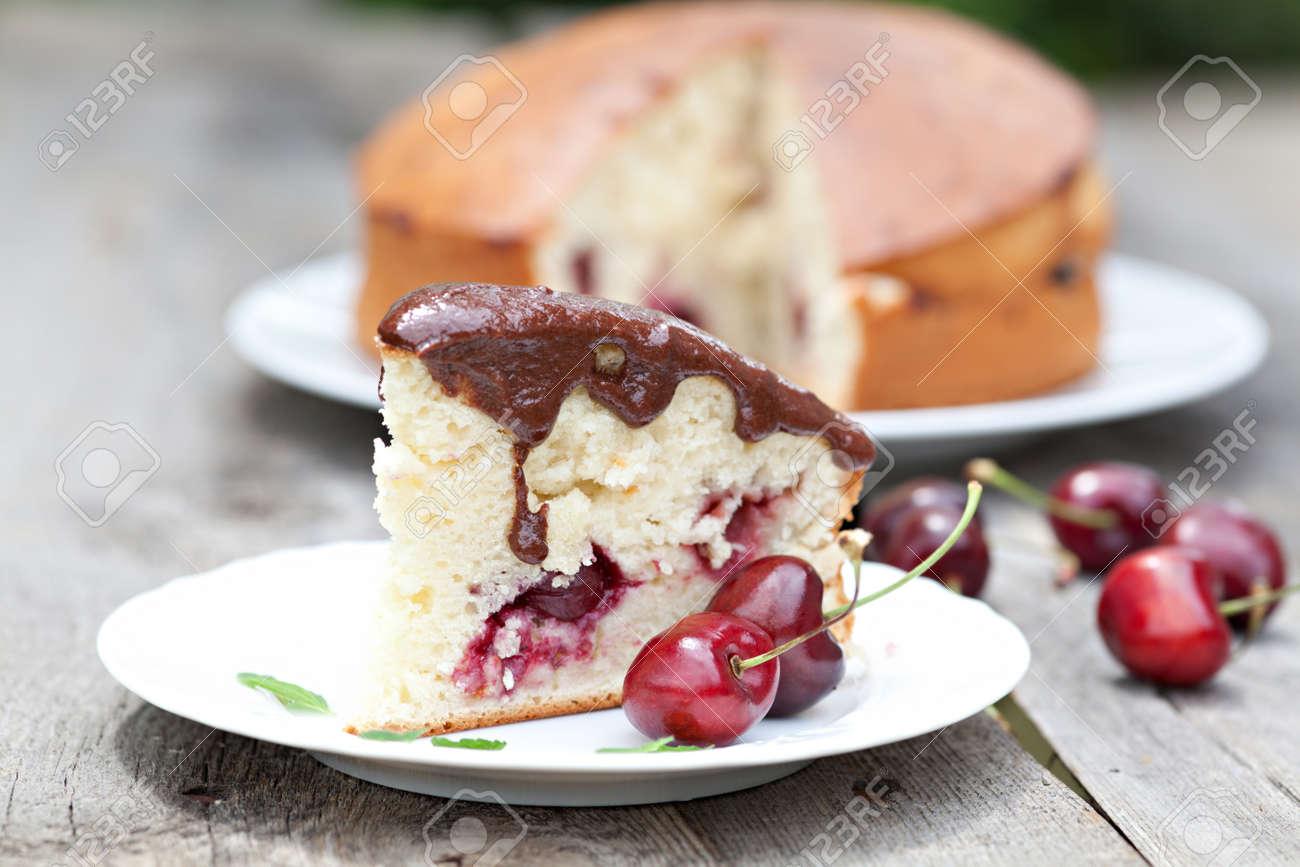 Beautiful Cherry Cake Chocolate Glaze Stock Photo Picture And