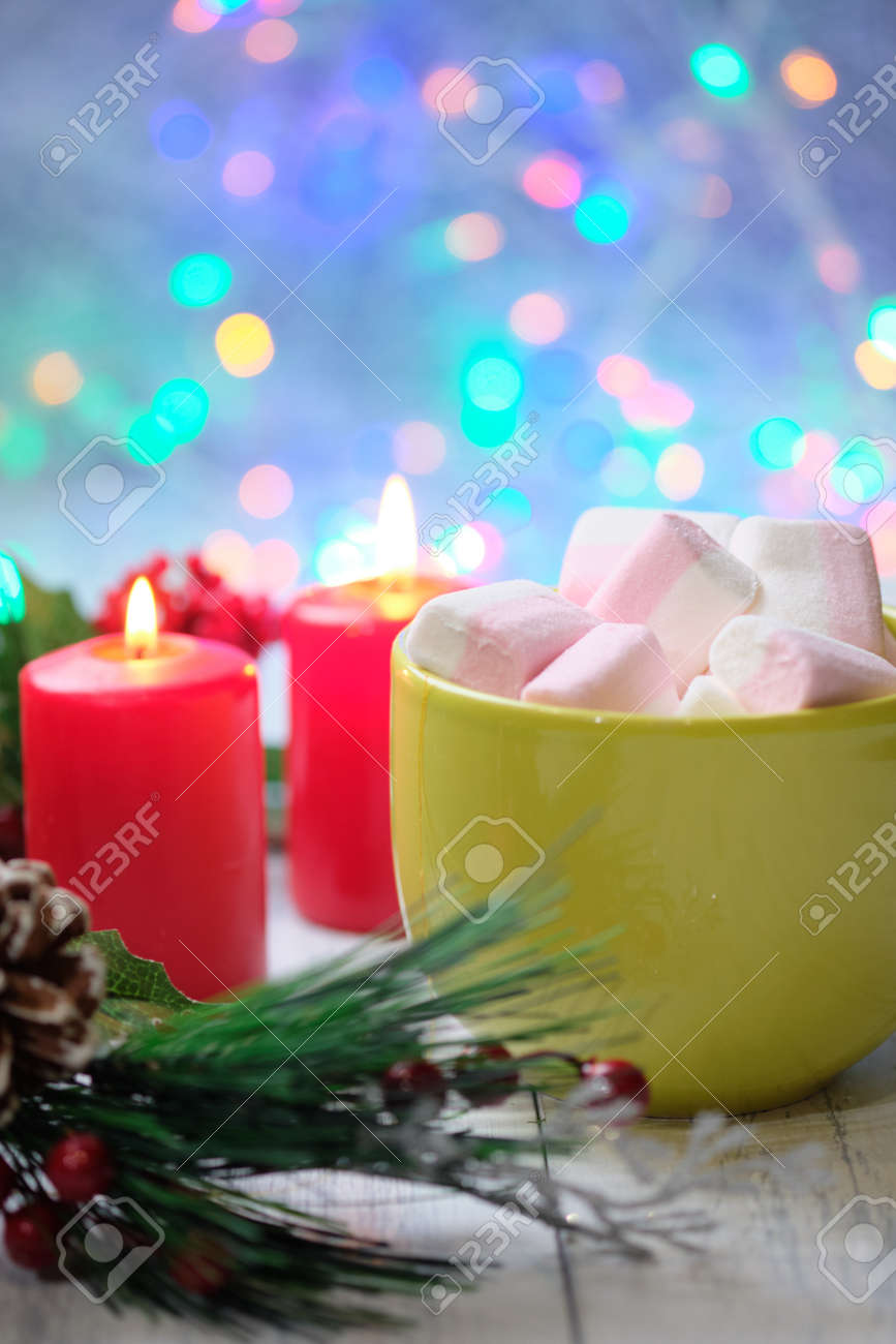 Almond Cookies And Marshmallow On White Background With Christmas