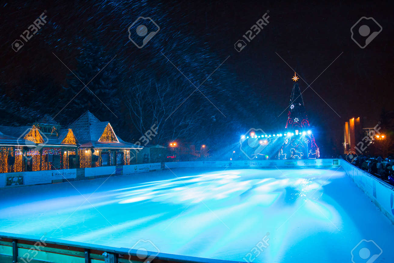 PYATIGORSK, RUSSIA   DECEMBER 31, 2014: View Of The Outdoor Ice Skating Rink