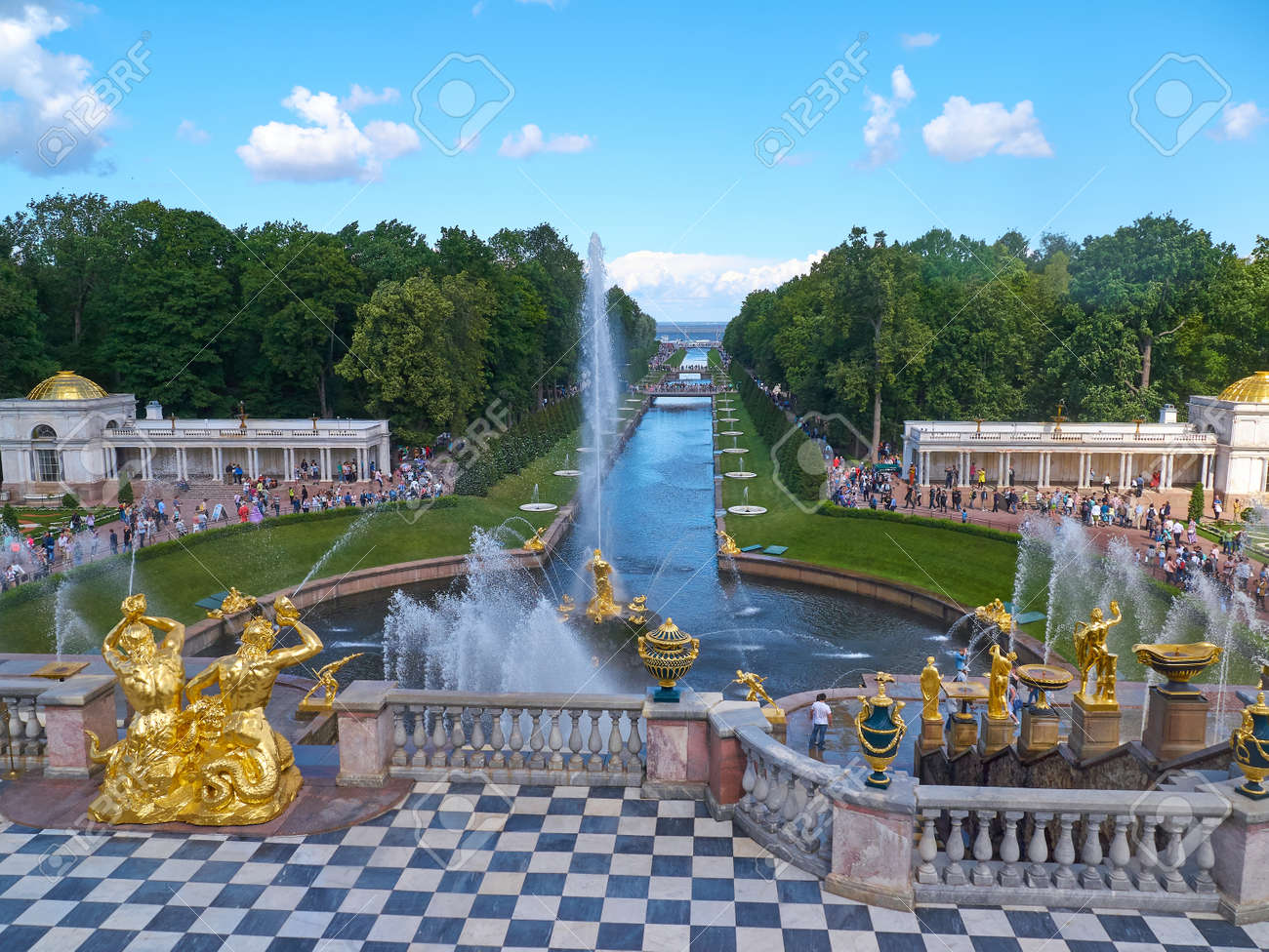 Peterhof, St  Petersburg, Russia - August 3, 2017: The Great