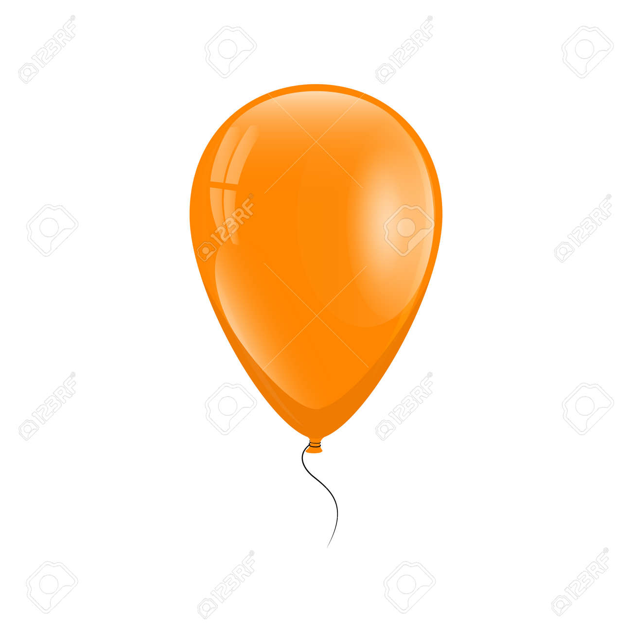 Orange balloon with a thread on a white background. Vector illustration - 68975990