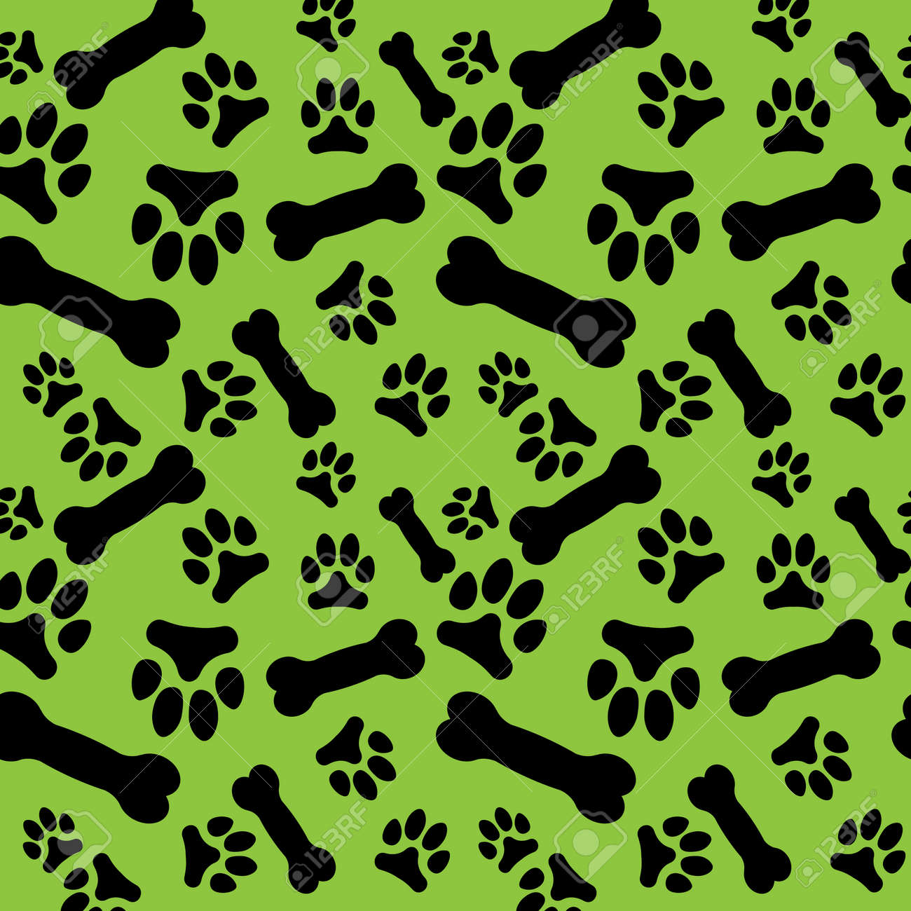 e6a3c2a34289 Seamless pattern with black dog paw prints and bones on a green background. Vector  illustration