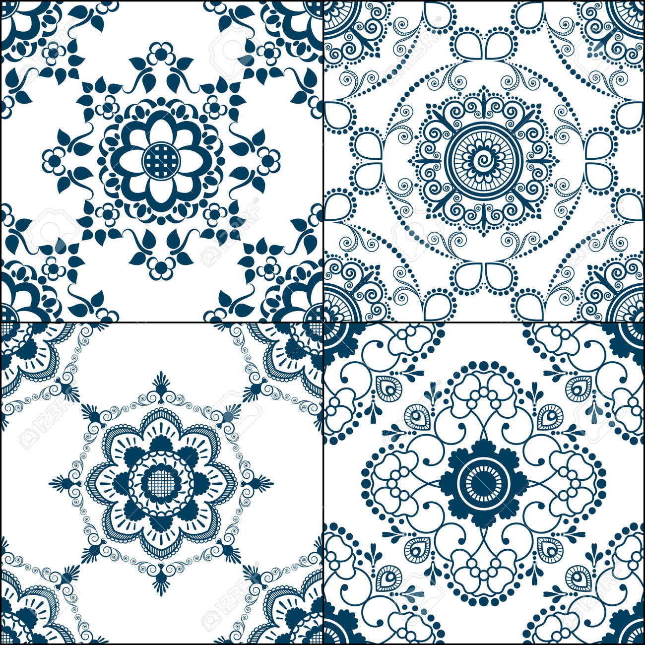 Set Of 4 Seamless Indigo Pattern Of Blue Floor Tiles From Ornamental ...