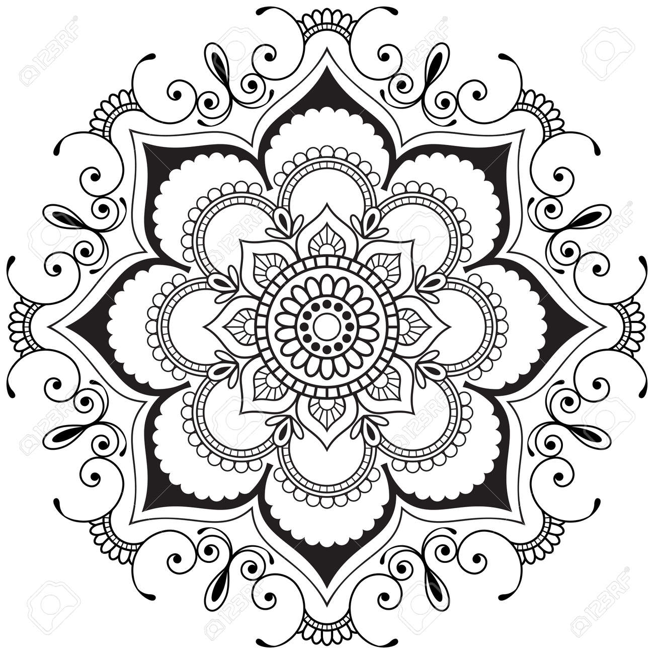 Mehndi Mandala Indian Henna Flower In Indian Style For Tatoo ...