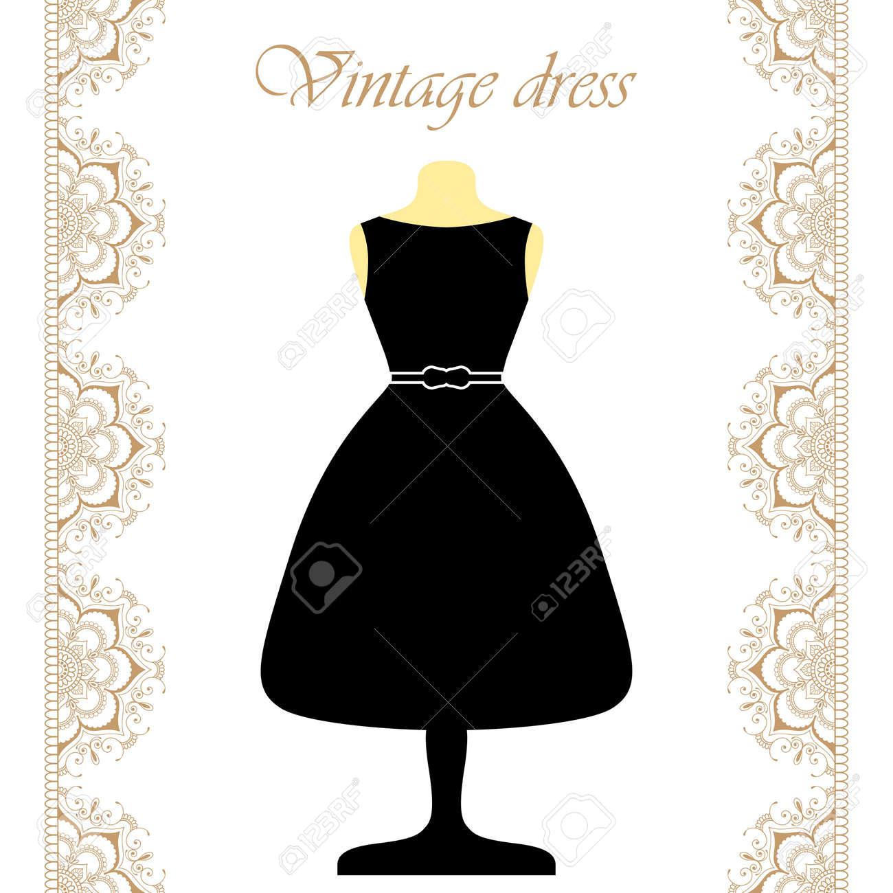 Vestido negro con borde blanco