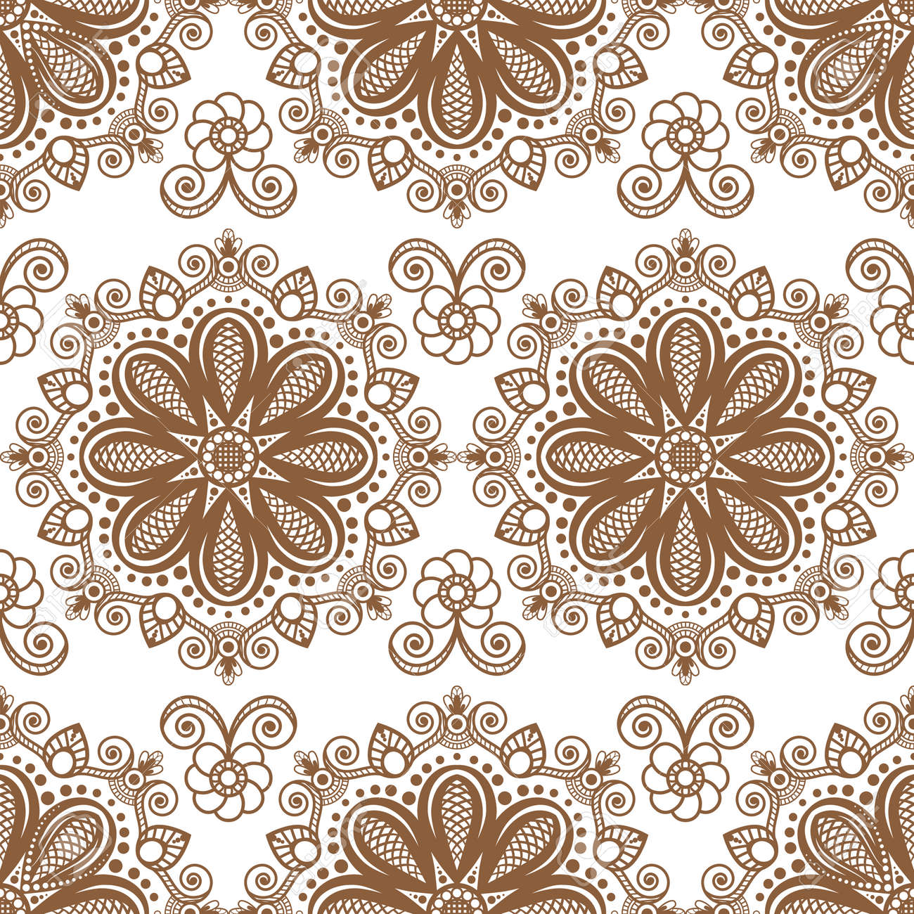 Seamless Brown Pattern Mehndi Background With Flowers And Lace ...