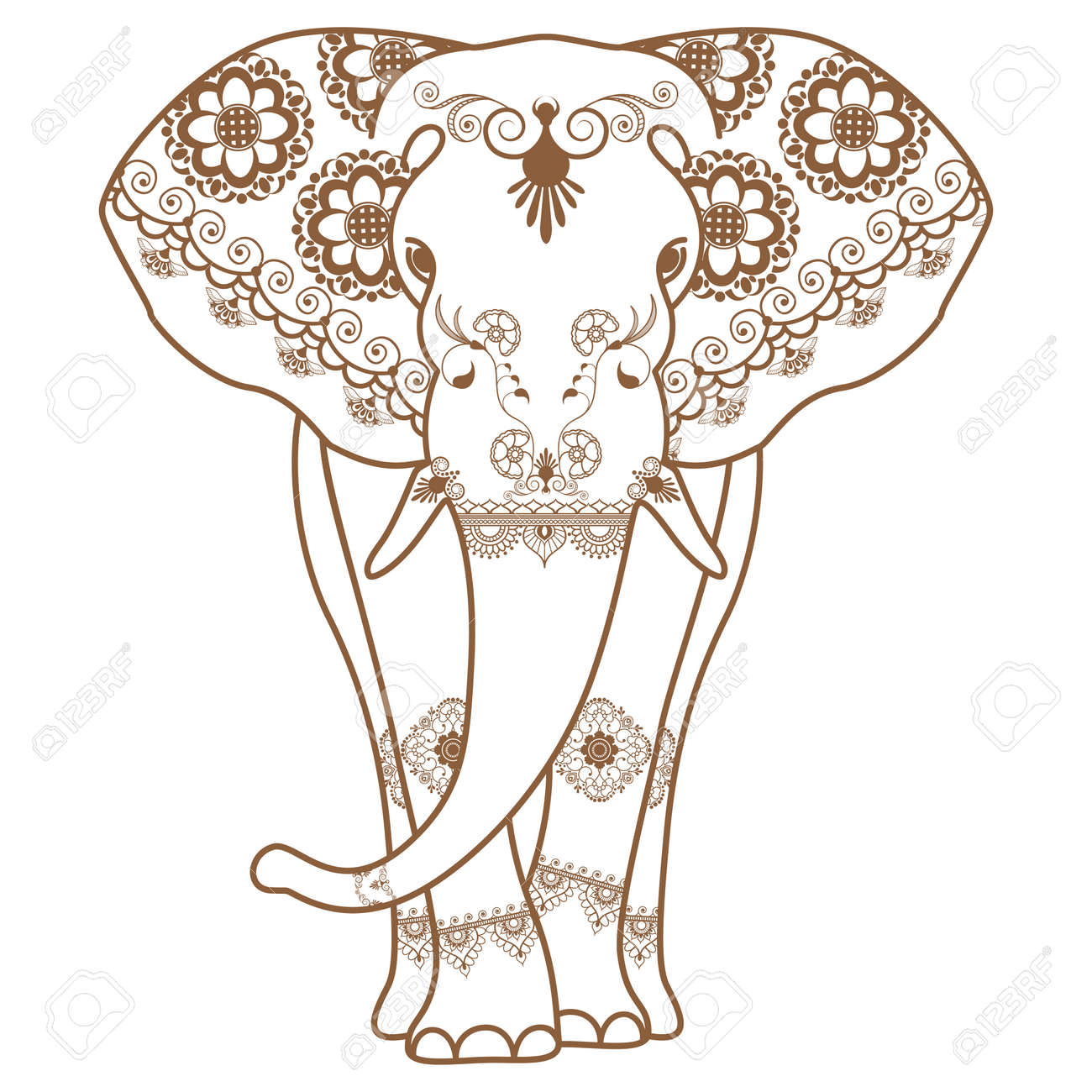 Mehndi Tattoo Brown Henna Elephant Decorated In Indian Style
