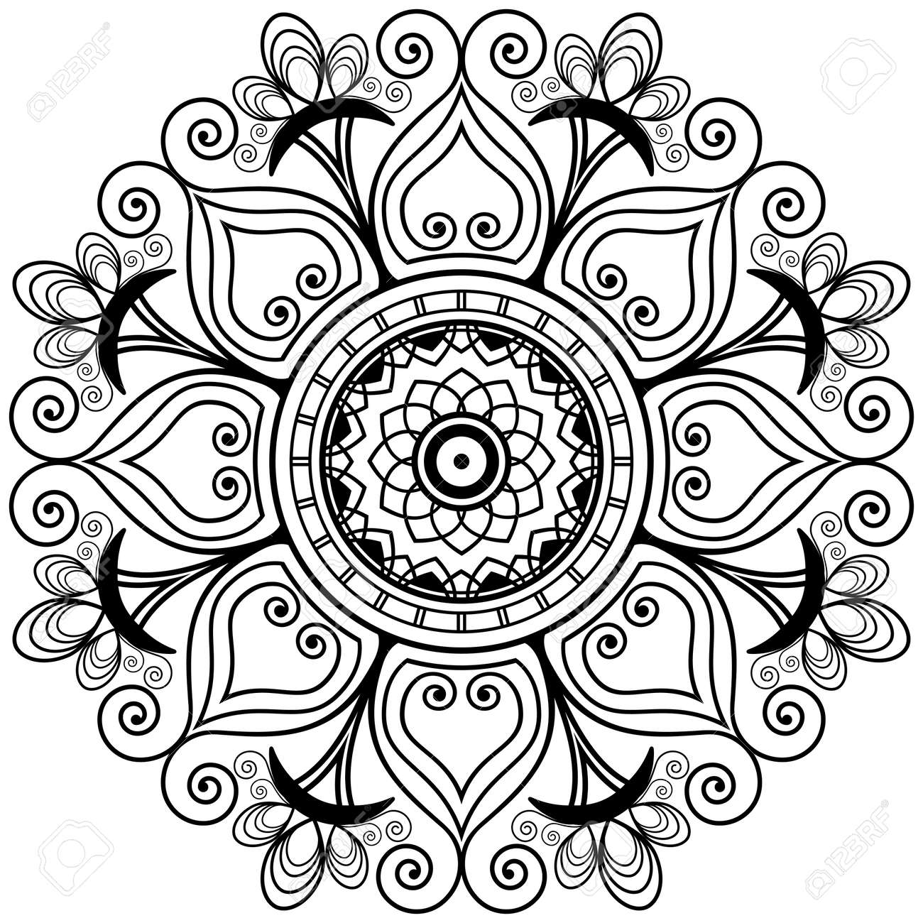 Henna tatoo mandala in mehndi style decorative pattern coloring henna tatoo mandala in mehndi style decorative pattern coloring book element vector floral junglespirit Gallery