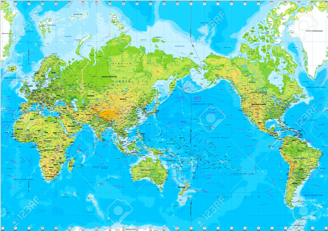 Physical Map Of The World Stock Photo Picture And Royalty Free