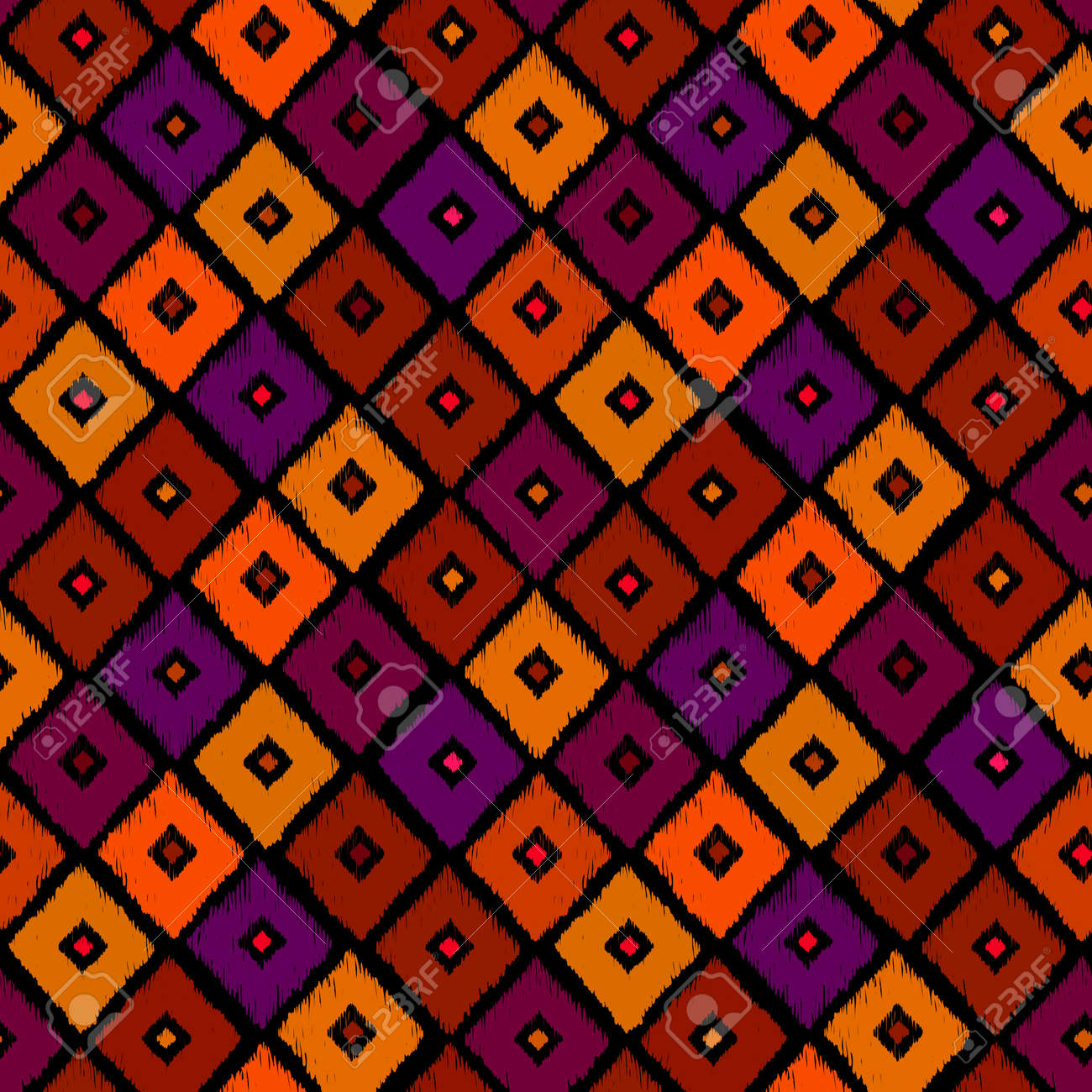 Vector   Vintage Vector Abstract Seamless Ikat Pattern. Colorful Textile  Background. Warm Colors Design Element. Hand Drawing Background.