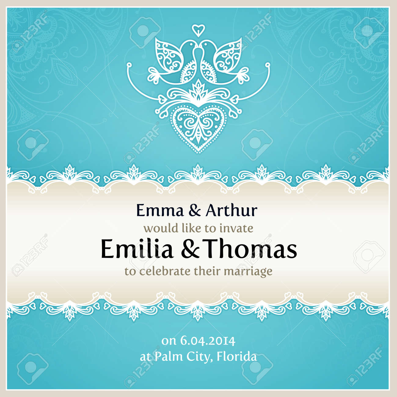 blue wedding invitation design template with doves hearts flowers
