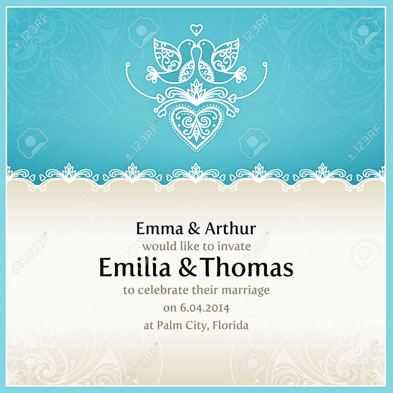 Blue wedding invitation design template with doves hearts flowers blue wedding invitation design template with doves hearts flowers and geometrical lace ornament stopboris Image collections