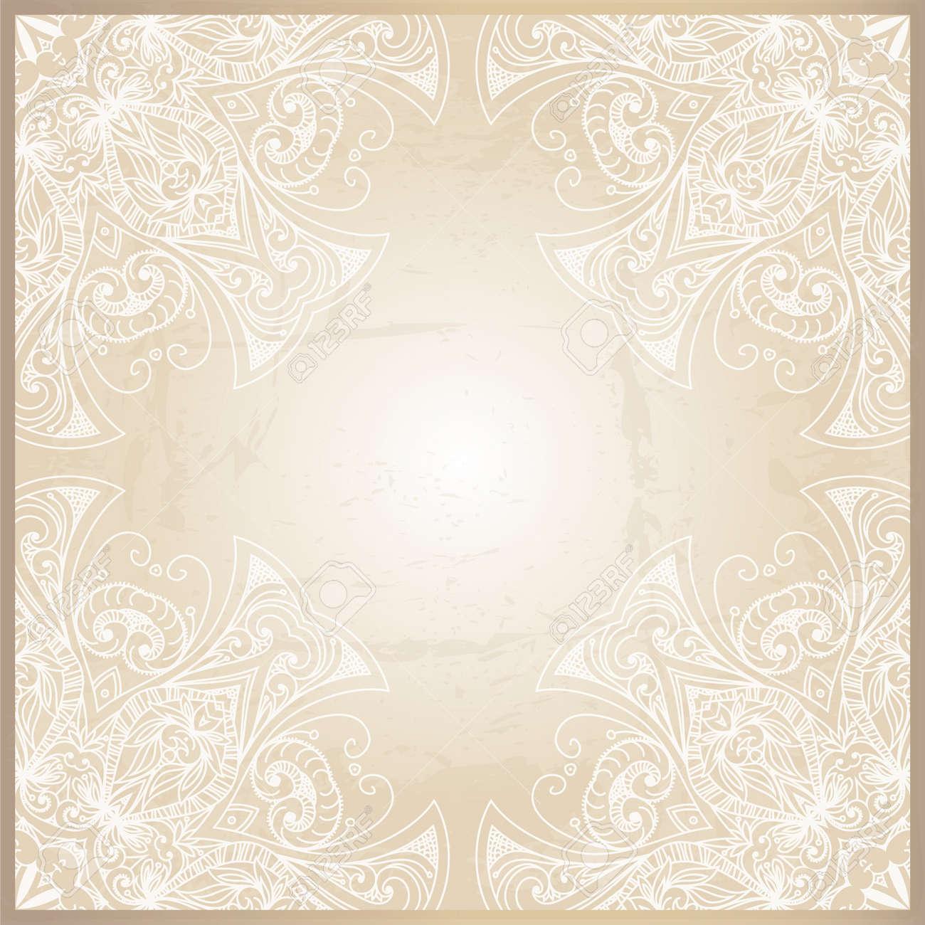 Abstrakt Hintergrund Mit Geometrischen Zierrahmen Floral Frame
