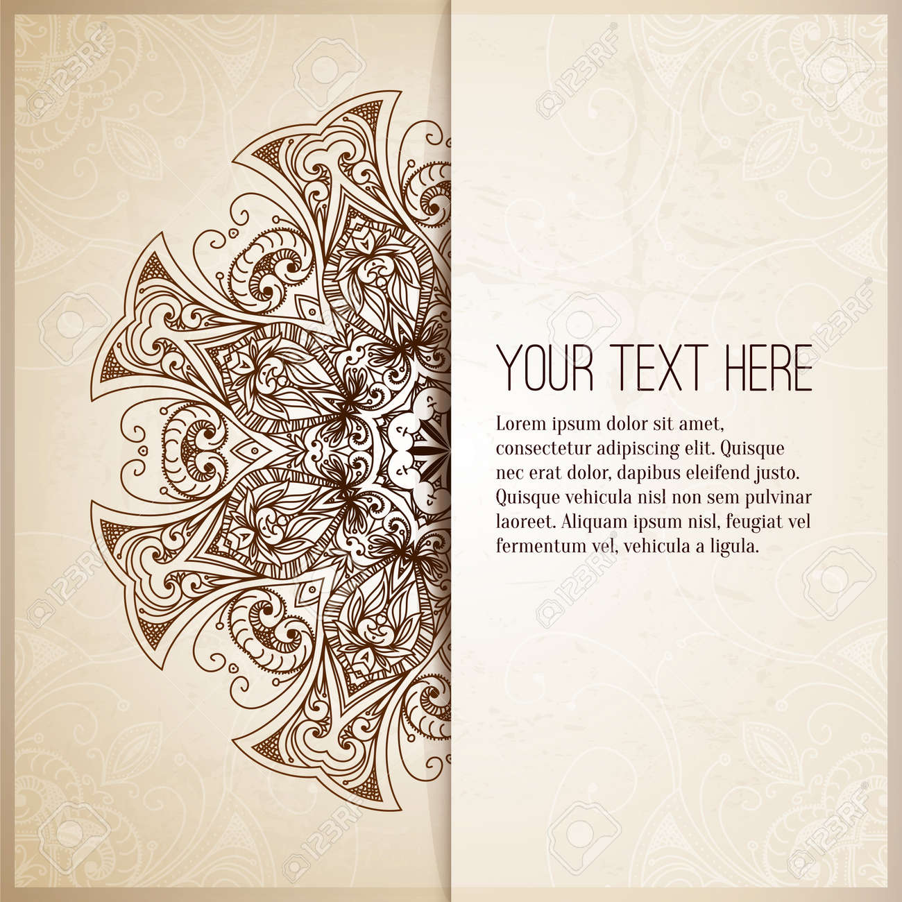 Vintage Background Retro Greeting Card Invitation With Lace