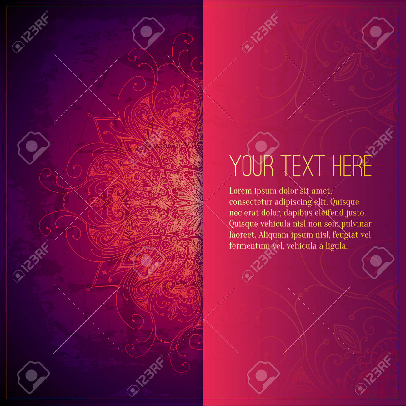 Abstract Vector Circle Floral Ornament. Lace Pattern Design ...