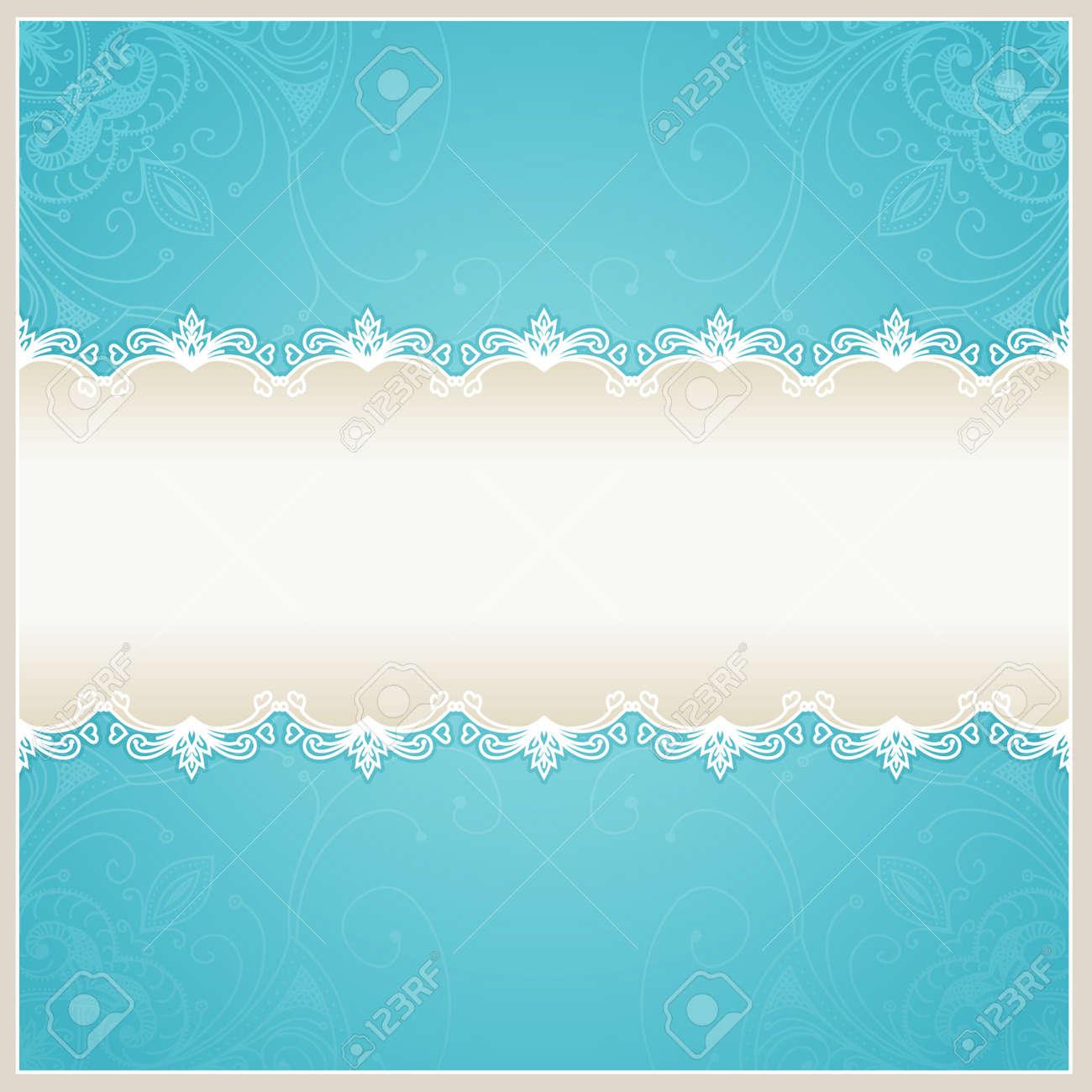 Floral Hochzeit Hintergrund. Blau-Design-Vorlage Für Banner, Karten ...