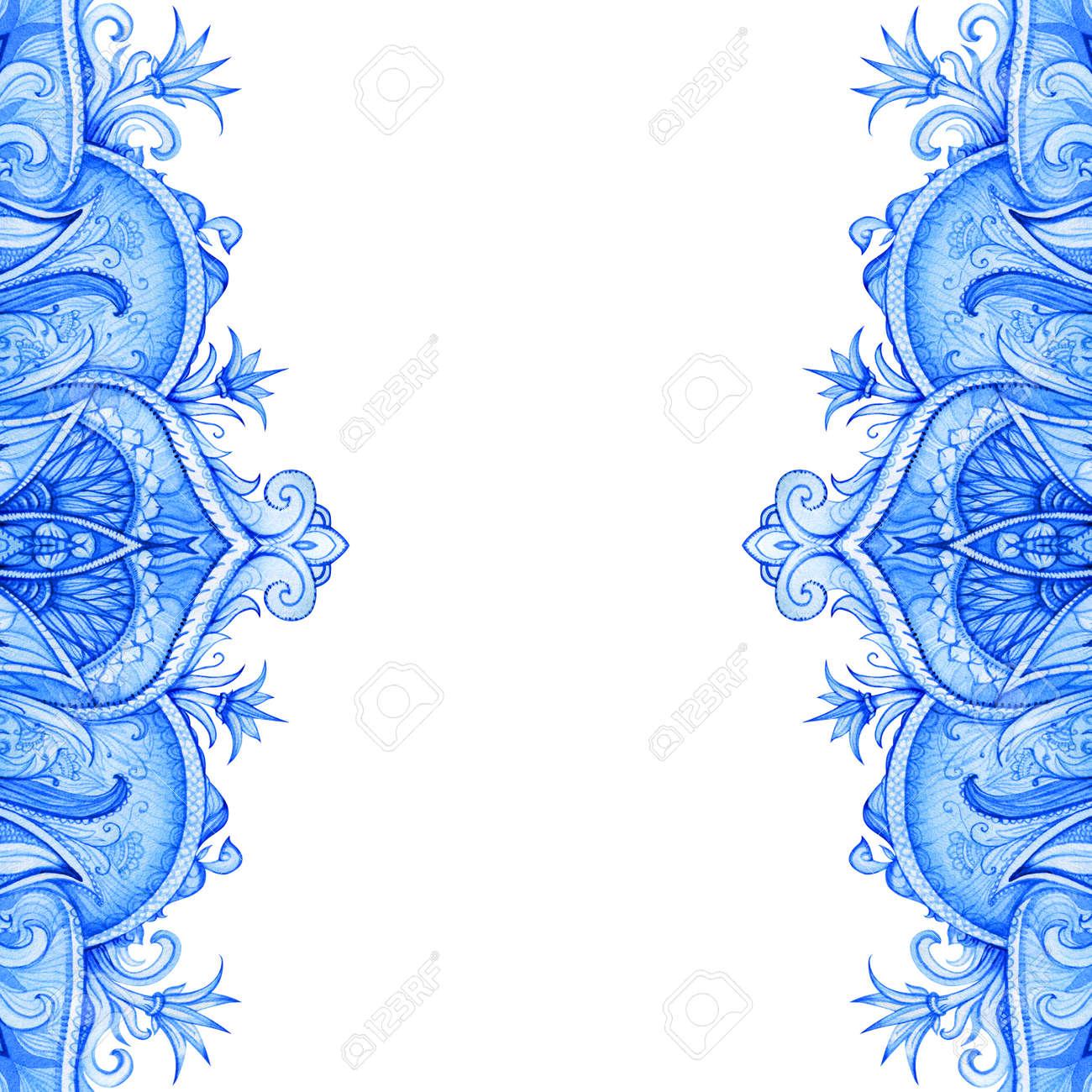 Seamless Pattern Retro Vintage Wedding Greeting Card Blue Background Or Invitation Decorative Elements Hand