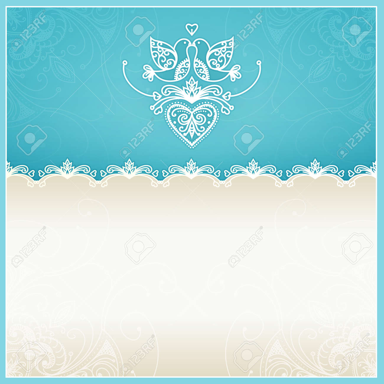 Blue Wedding Invitation Design Template With Doves, Hearts, Flowers ...