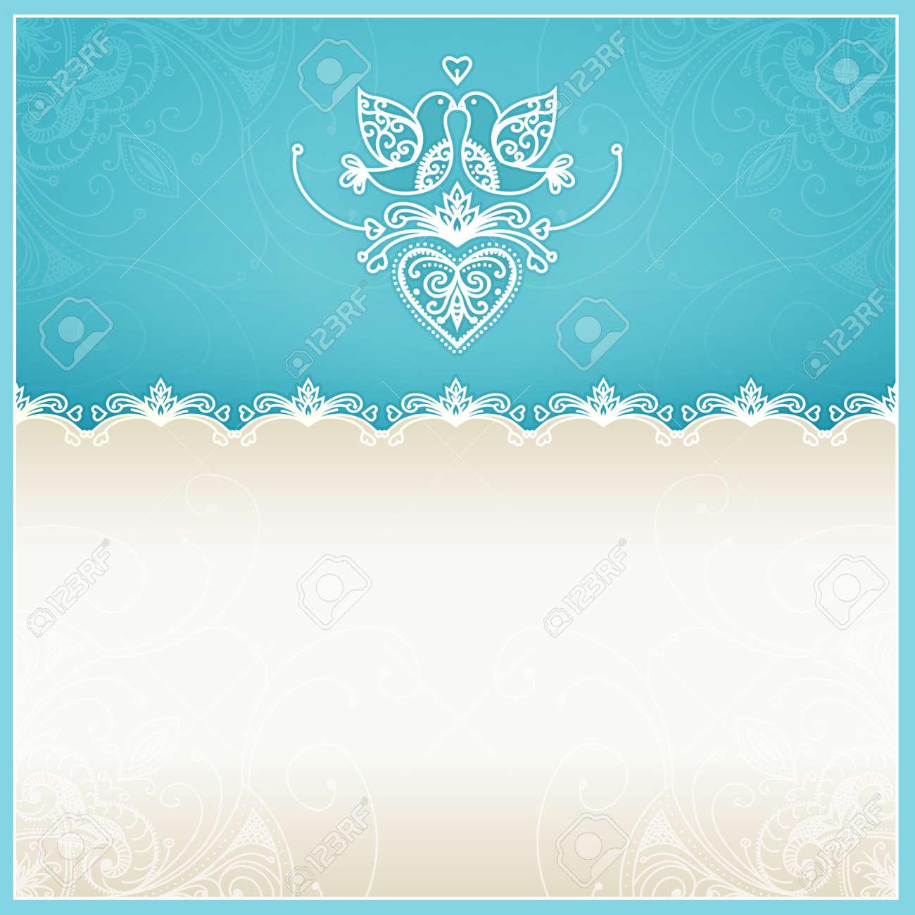 Invitación Azul De La Boda Plantilla De Diseño Con Palomas ...