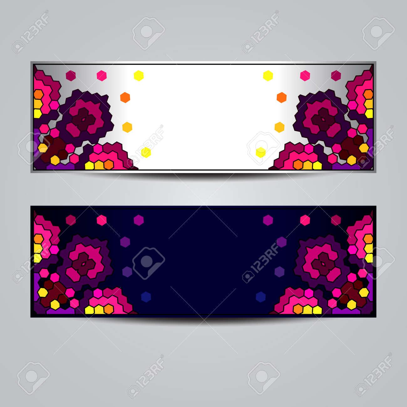 Banderas Abstractas Con El Ornamento Geométrico Plantilla De Diseño ...