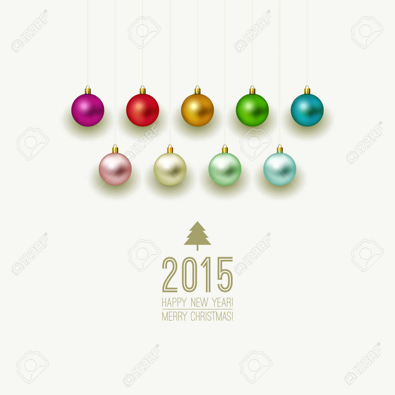 Christmas Ornaments On White Background. Christmas Label With ...
