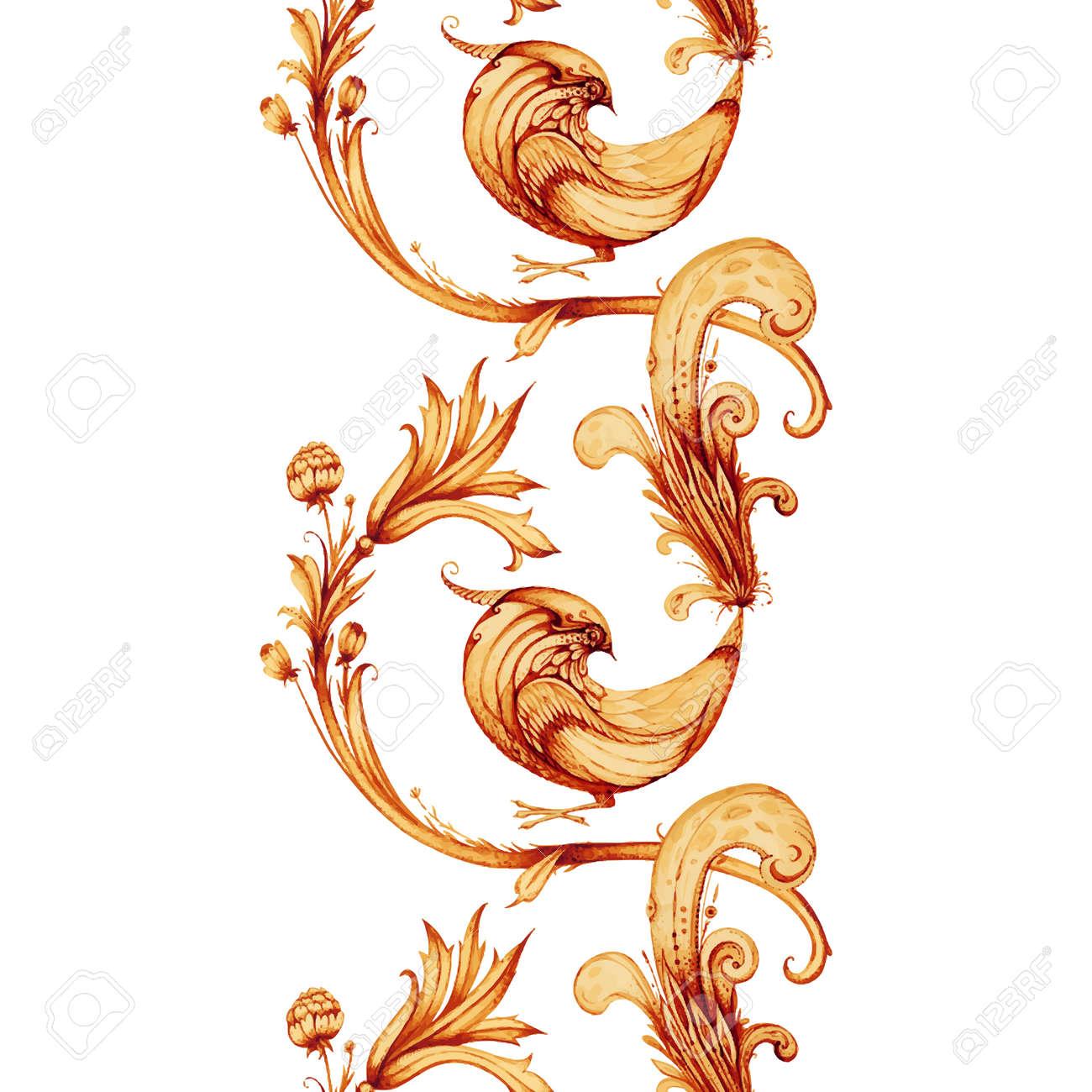 Vector Aquarellmalerei Firebird Und Blumen Isoliert Auf Weissem