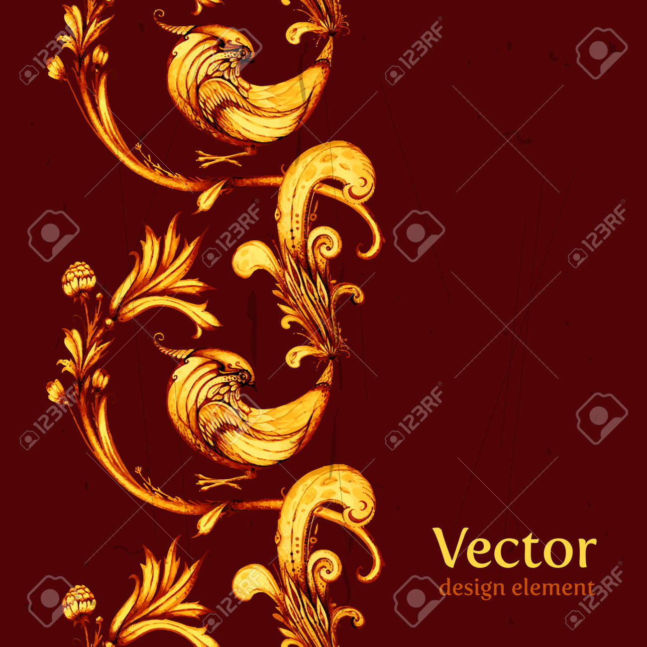 Vector Birds And Flowers Abstract Seamless Pattern Design. Retro ...