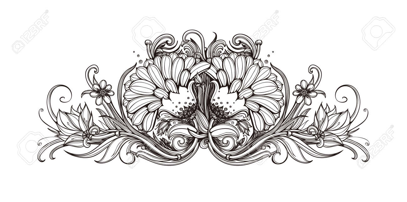 Vector Black And White Background With Flowers. Black And White ...