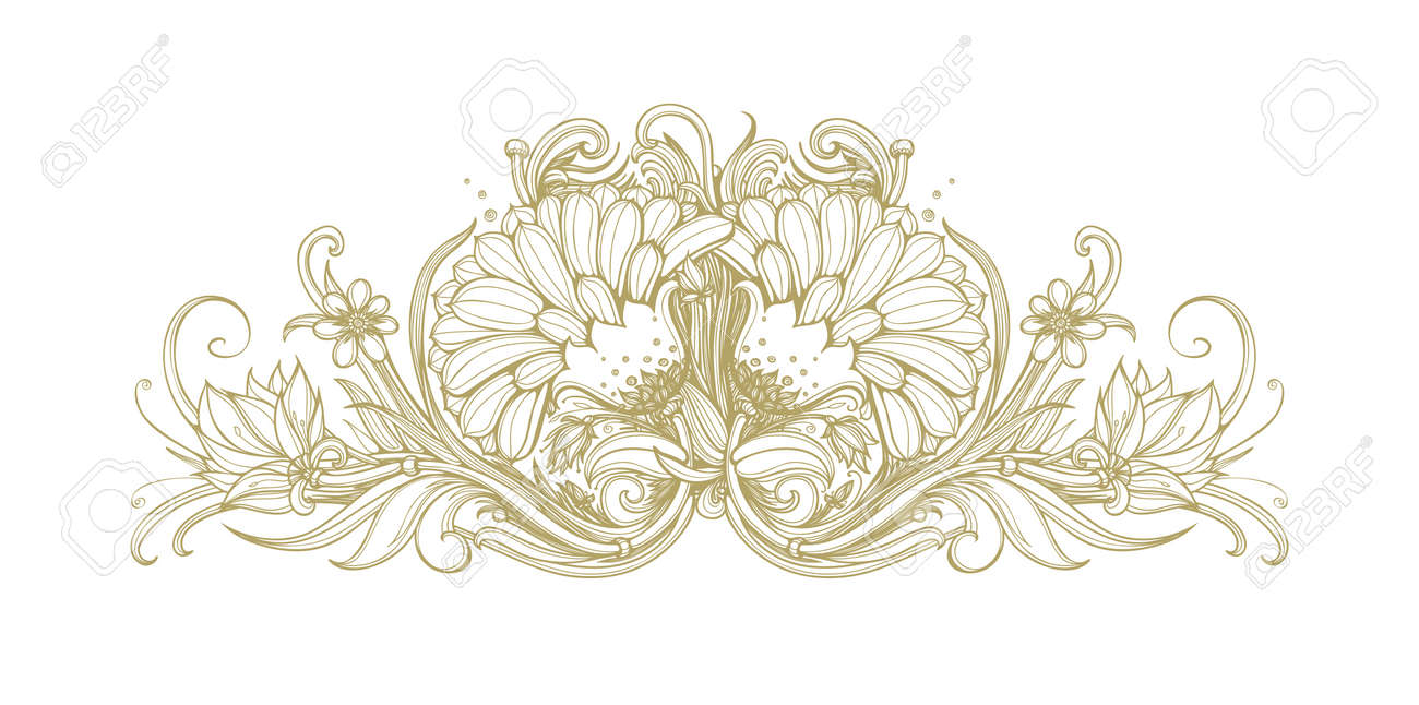 Vector Gold Blooming Flower Background Golden Flowers On White